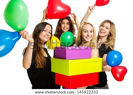 Girls having a party with balloons on white background - stock photo