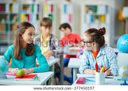 Girls in classroom - stock photo