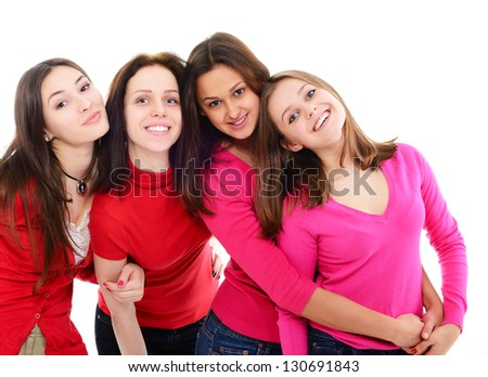 girls in red, group of four young happy smiling women in red clothes over white - stock photo