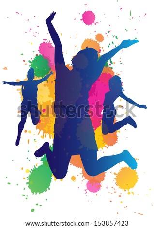 Girls jumping against a paint splatter background.  - stock photo