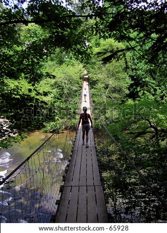 Girls on Suspension Bridge - stock photo