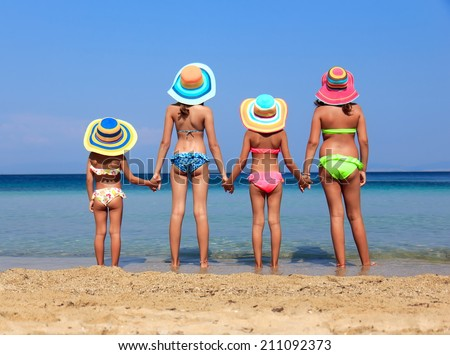 Girls on the beach - stock photo