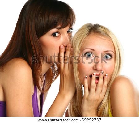 girls secret - face of blonde and brunette girl isolated on white - stock photo