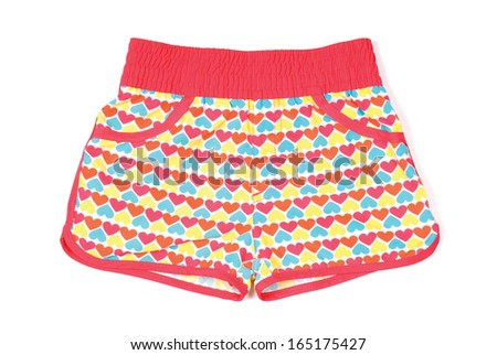 Girls shorts with hearts pattern, isolated on white. Clipping path included. - stock photo