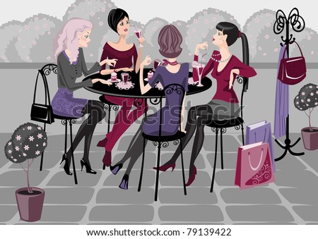 girls spend their time in a street cafe.Raster version. vector in portfolio. - stock photo