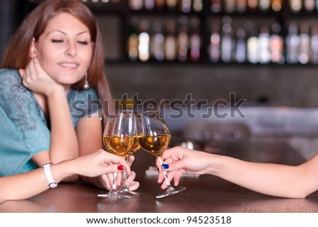 girls toasting - stock photo