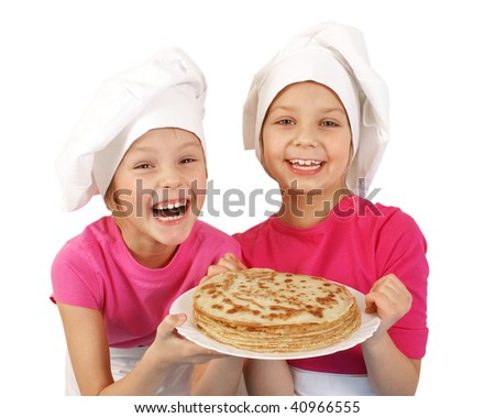 Girls with plate of Pancakes - stock photo