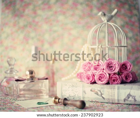 Girly vintage still life - stock photo