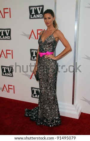 Gisele Bundchen at AFI's 39th Annual Achievement Award Honoring Morgan Freeman, Sony Pictures Studios, Culver City, CA. 06-09-11 - stock photo