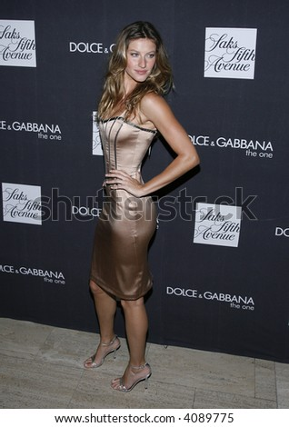 Gisele Bundchen pictured during Dolce & Gabbana's newest fragrance launch 'The One' at Saks Fifth Avenue, New York, New York, July 16, 2007. - stock photo