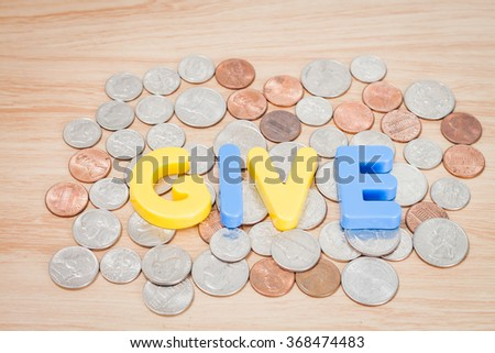 Give alphabet with various US coins, stock photo - stock photo