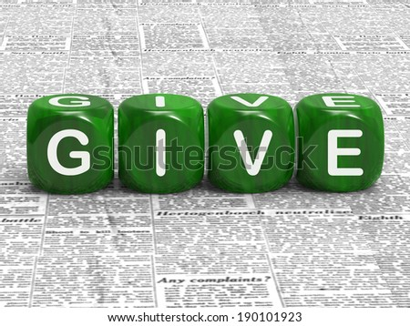 Give Dice Meaning Contribute Donate Or Bestow - stock photo