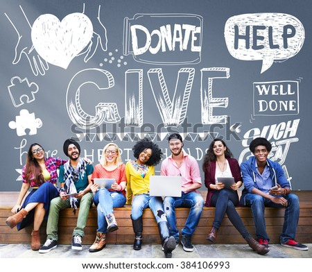 Give Help Donate Charity Aid Concept - stock photo