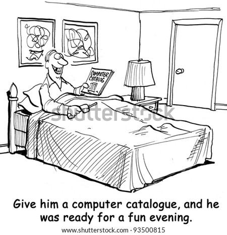 Give him a computer catalogue and he was ready for a fun evening. - stock photo