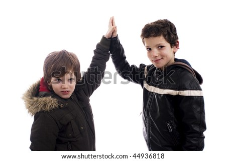 Give-me a five, between two boys - stock photo