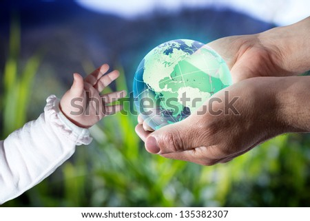 give the world the new generation - Usa - green - stock photo