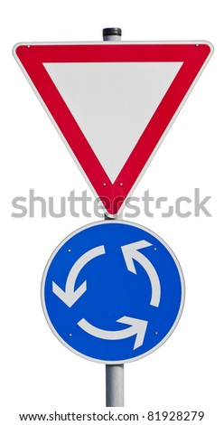 Give way sign with traffic circle. With clipping path - stock photo