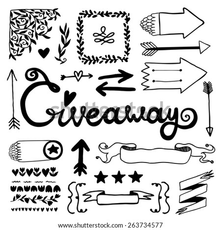 Giveaway and vintage elements set. - stock photo