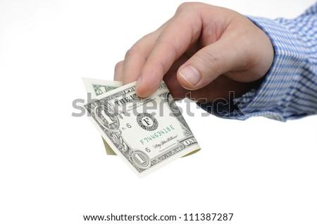 Giving one dollar bill - stock photo