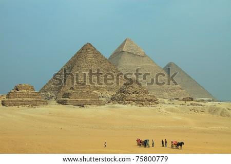 Giza Pyramids - Pano - stock photo