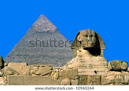 Giza, The Sphinx and Chefren Pyramid, Cairo, Egypt. - stock photo