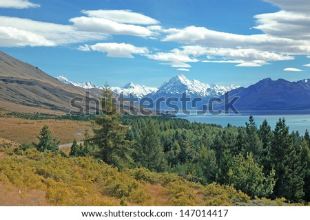 Glacial Stream and Mount Cook, New Zealand - stock photo