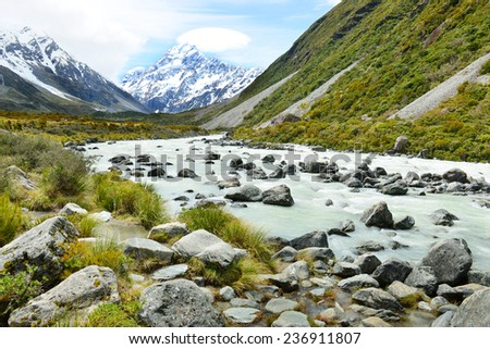Glacial stream between rocks and gravel in Hooker Valley from Aoraki, Mount Cook, highest peak of Southern Alps, an icon of New Zealand  - stock photo