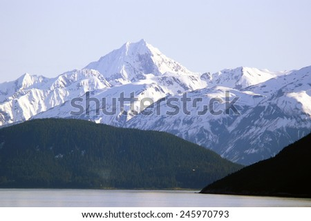 Glacier Bay National Park Alaska view of mountains. - stock photo