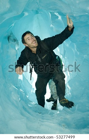 Glacier climbing in New Zealand - stock photo