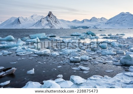Glacier ice floating in the Arctic fjord - Spitsbergen - stock photo