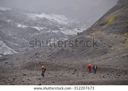 GLACIER, ICELAND - SEPTEMBER 07: Joklagongun Glacier tour in Iceland on September 07,2015. Many people come to visit the exotic and beautiful Iceland. - stock photo