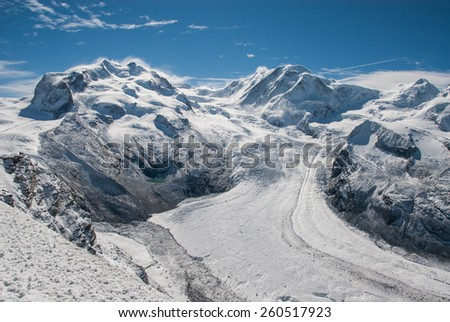 Glacier in Swiss Alps - stock photo