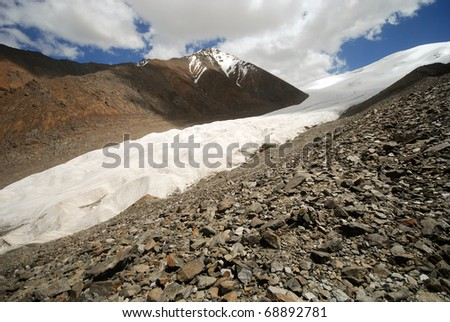 Glacier in Tibetan mountain range, Sichuan, China, near Yunnan province - stock photo