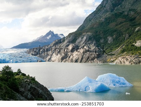 Glacier in Torres del Paine National Park in Patagonia, Chile. - stock photo