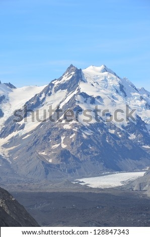 Glacier Lake and Ice, Mount Cook, New Zealand - stock photo