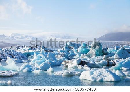 glacier lake in Iceland - stock photo