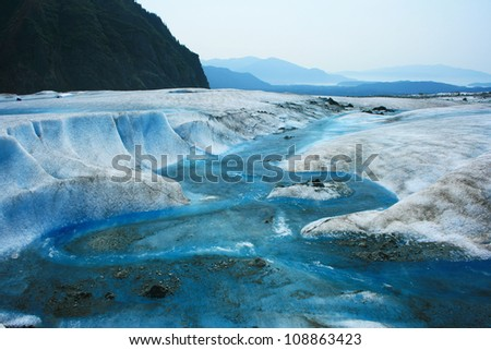 Glacier Melt on top of Mendenhall Glacier, Juneau, Alaska, USA - stock photo