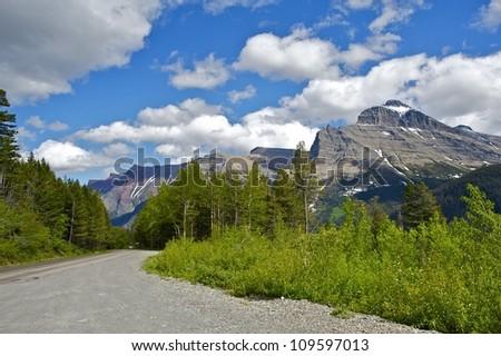 Glacier Montana Road - Montana Landscape. Glacier National Park, MT, U.S.A. Nature Photo Collection. - stock photo