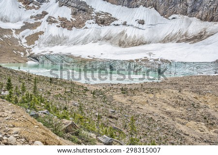 Glacier of Mt. Edith Cavell, Jasper National Park, Alberta, Canada - stock photo