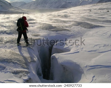 Glacier trekking in the high-Arctic - stock photo
