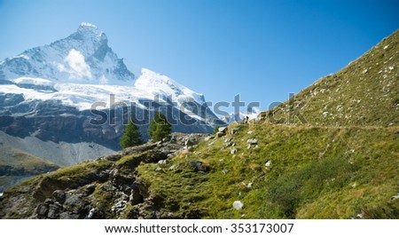 Glacier valley in the swiss Alps - stock photo