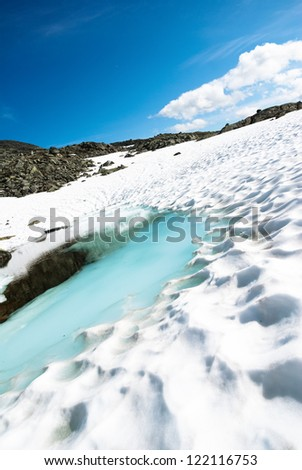 glaciers in Norway in the summertime - stock photo