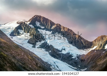 Glaciers in the Chugach Mountains of Alaska near Girdwood - stock photo