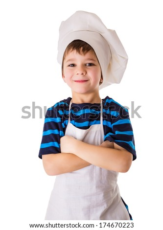 Glad little chef, standing isolated on white - stock photo
