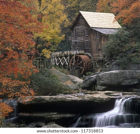 Glade Creek Grist Mill  Babcock State Park West Virginia in October - stock photo