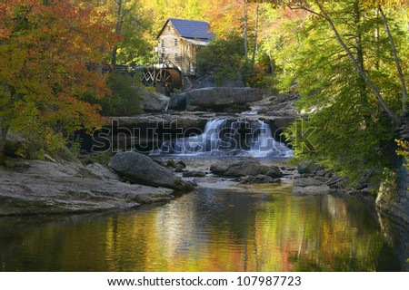 Glade Creek Grist Mill, water fall in Babcock State Park, West Virginia - stock photo