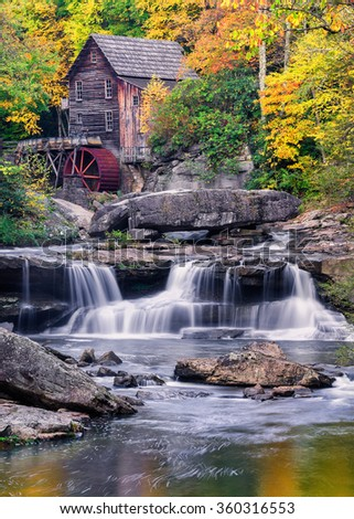 Glade Creek Gristmill and fall colors in West Virginia - stock photo