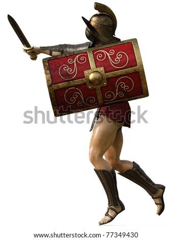 gladiator side attack - stock photo