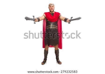 Gladiator with sword isolated on white - stock photo
