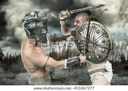 Gladiators or warriors fighting with shield and swords in a battle - stock photo